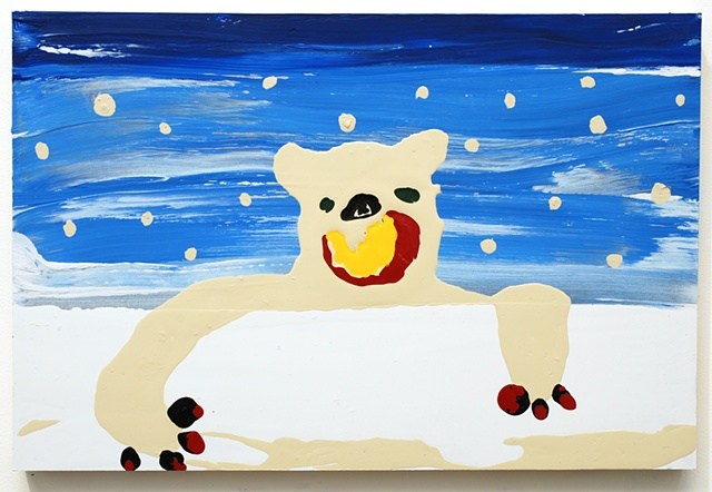 a polar bear that eats modern paintings
