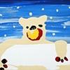 a polar bear that eats modern paintings