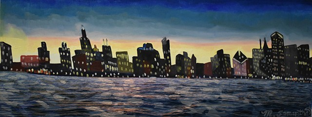City on the Water (Hybrid Print)