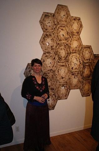 Artist Amy Kupferberg with her installation.