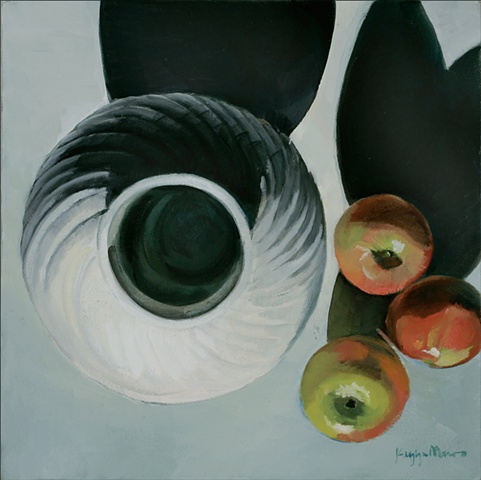 White Urn with Apples