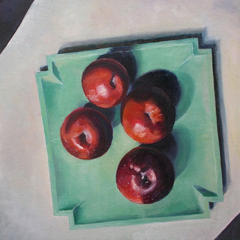 Arkansas Black Apples on Green Platter