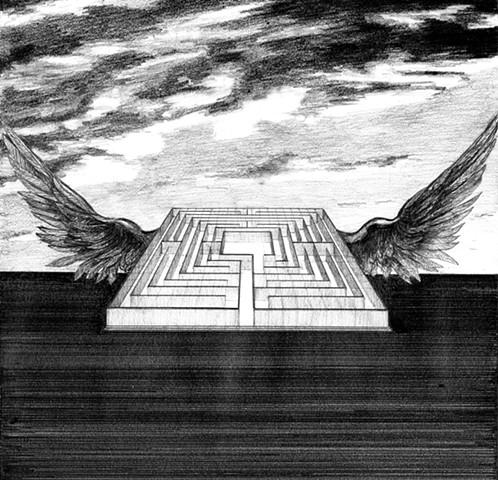 Daedalus myth wings ruins labyrinth landscape