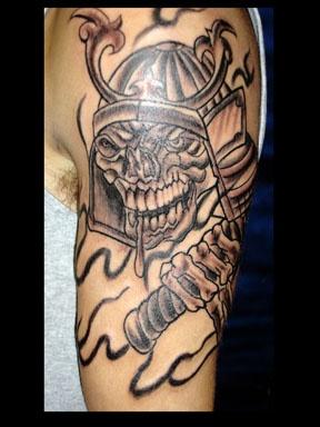 japanese warrior skull tattoo by tatupaul
