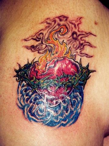 sacred heart tattoo by tatupaul
