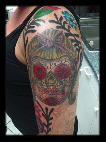 sugar skull tattoo by tatupaul.com