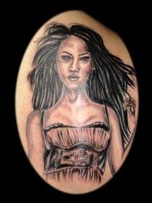 portrait of woman tattoo by tatupaul.com