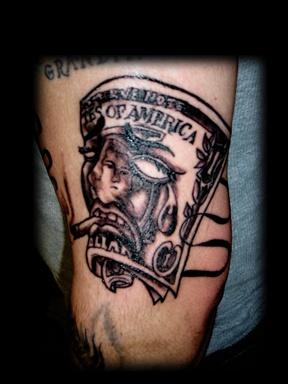 west coast dollar bill tattoo by tatupaul