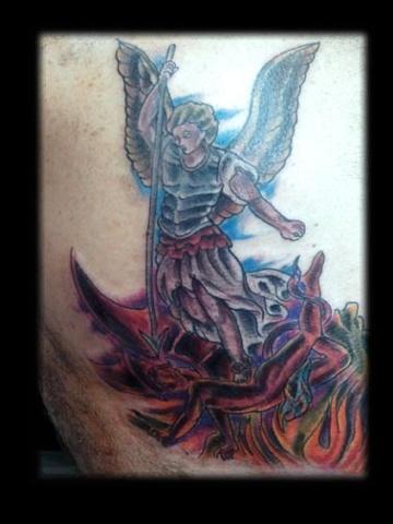 st. micheal  tattoo by tatupaul.com