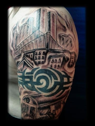 nyc train tattoo by tatupaul.com