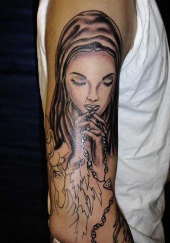 virgin mary tattoo by tatupaul