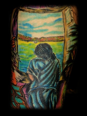salvador dali window tattoo by tatupaul