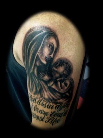 virgin mary tattoo by tatupaul.com