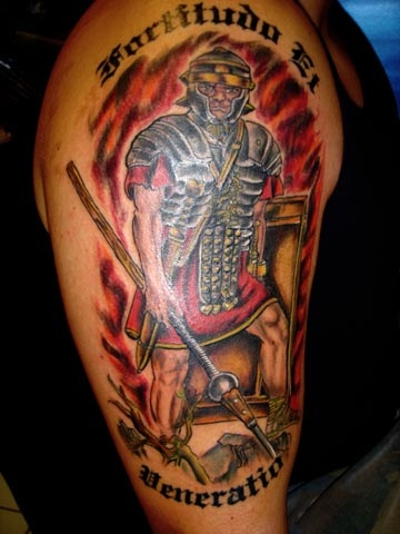roman warrior tattoo by tatupaul