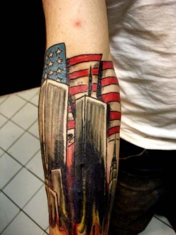 twin tower/flag 9 11 tattoo by tatupaul