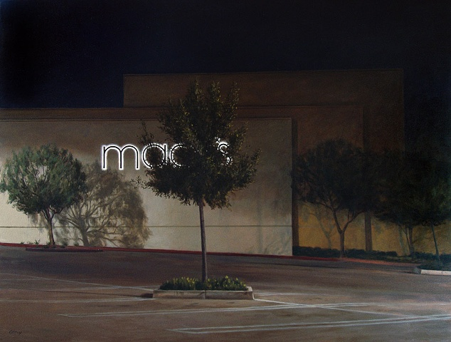 Large oil painting, night scene, Macy's store, parking lot, lighted sign, trees, building