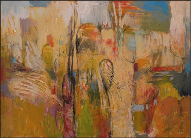 artwork, original art, painting, acrylic, abstract, landscape, yellows, whites, tans, greens, reds, blues, texture