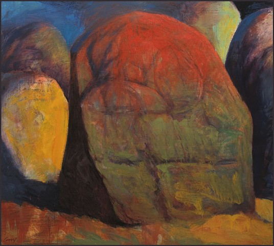 saturated color, stones, rocks, abstract, figurative, expressionist, landscape
