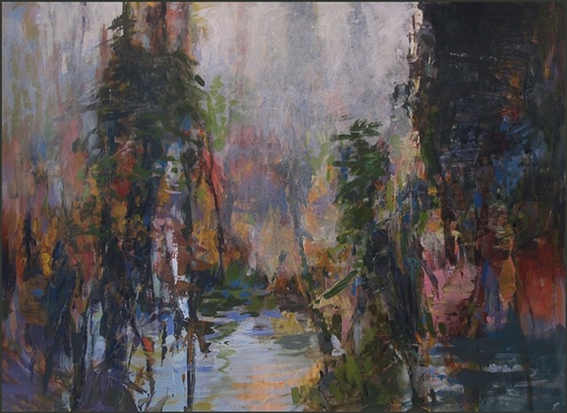 semi-abstract, representational, trees, swamp, fog, forest, impressionist, expressionist