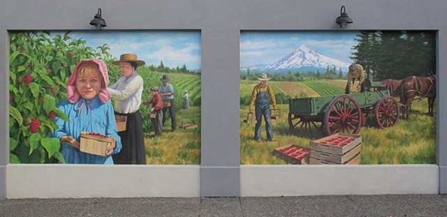 mural, outdoor mural, historic, historical mural, berries, raspberries, Oregon, picking berries, wagon, fields, mountain