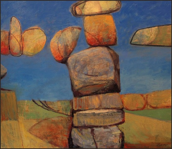 saturated color, stones, rocks, abstract, figurative, expressionist, landscape, whimsical