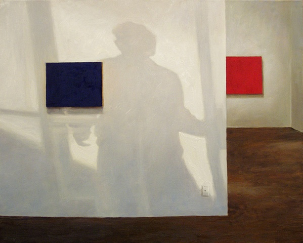 Interior of gallery with minimalist paintings, human shadow on  white walls.