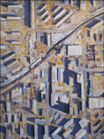 abstract, aerial view, city, buildings, painterly, neutral colors, geometric patterns