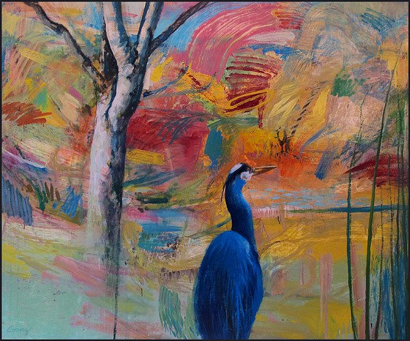 abstract, semi-abstract, figurative, bird, heron, tree, colorful, energy