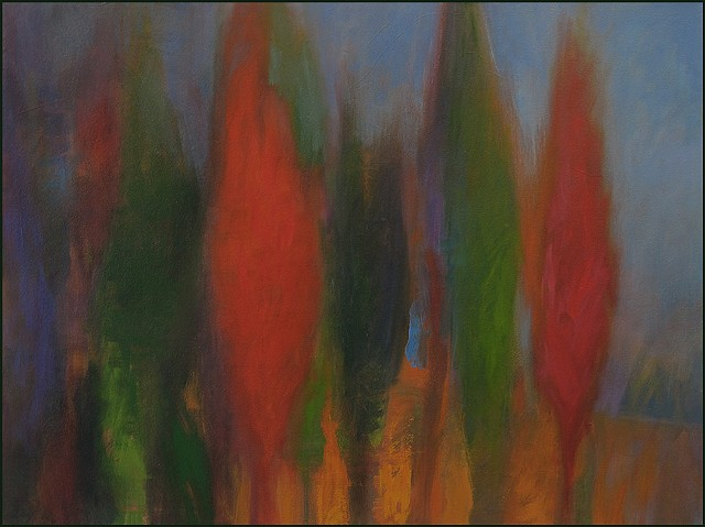 oil, landscape, forest, trees, colorful, imaginary, abstract, painterly, fantasy