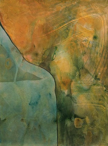 abstract, semi-abstract, fluid, watercolor, organic, landforms, yellows, blues, greens, sinuous line