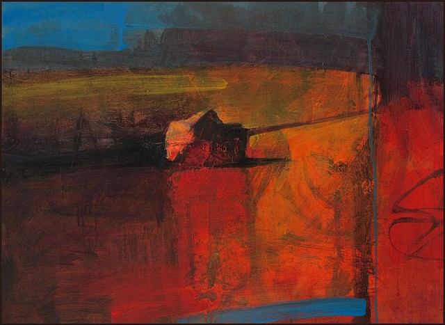 Semi-abstract landscape with stone.  Deep, saturated colors of red, orange, brown and blue.