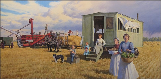 mural, farm scene, wheat, thresher, cook shack, women, historical, thresing crew,