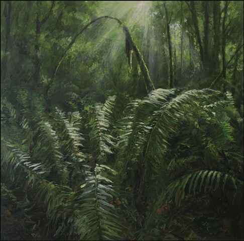 Oil, realist, ferns, forest, woods, greens, sunlight, shadow, landscape, representational