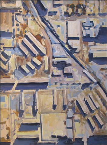 abstract, aerial view, city, buildings, painterly, neutral colors, geometric patterns, shadows