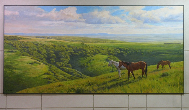 Interior mural, green hills, meadows, flowers, horses, sunshine
