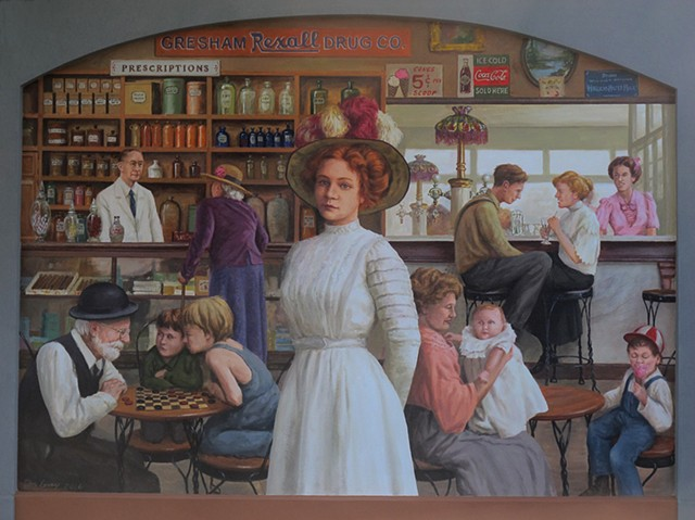 mural, historical, drugstore, soda fountain, interior scene, 1910