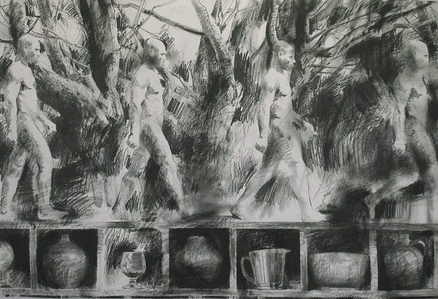 Nude male walking left to right (Muybridge), tree limbs, compartments with objects along lower edge