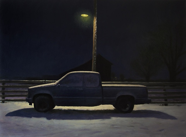 Night landscape, truck in driveway under farm light pole, snow.