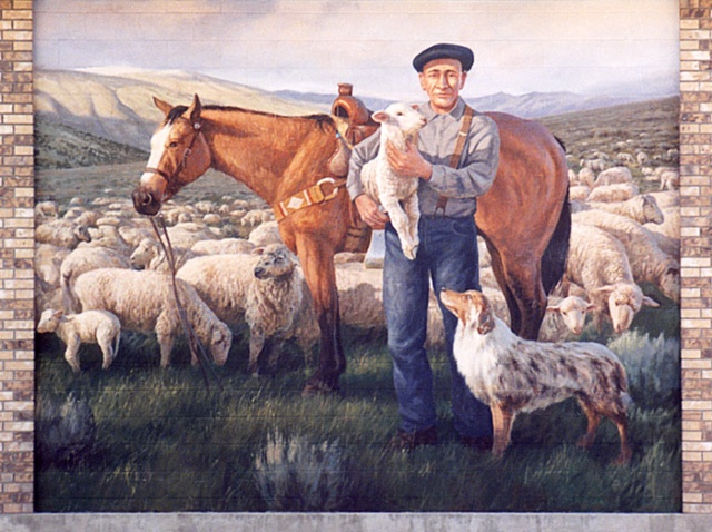 Mural, exterior mural, sheepherder, horse, sheep and dog