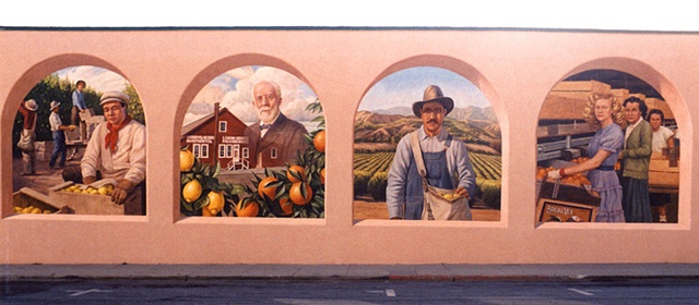 Mural, exterior mural, historical illustration, fruit pickers, packing plants, California citrus industry