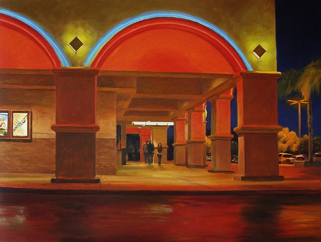 oil painting, night scene, theater, lights, neon, wet pavement