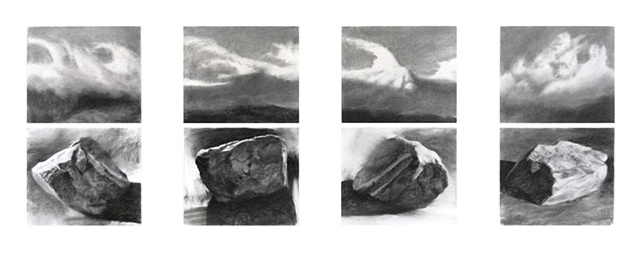 stones, boulders, clouds, sky, turbulent, black and white, semi-abstract