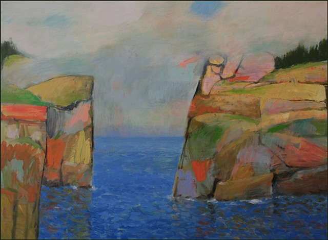 oil, abstract, colorful, painterly, color blocks, interlocking, seascape, cliffs, whimsical, fantasy