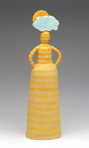 ceramic figure pottery cloud sun stripes by Sara Swink