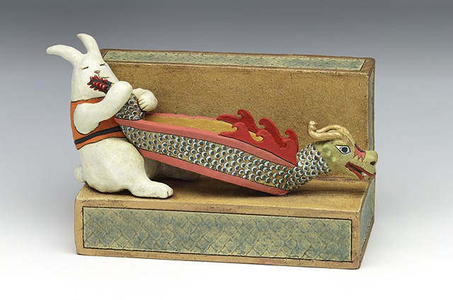ceramic rabbit dragon boat pottery by Sara Swink
