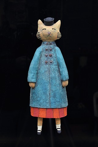 ceramic figure wall piece cat by Sara Swink