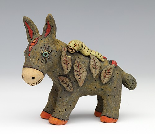 ceramic figure animal donkey caterpillar by Sara Swink