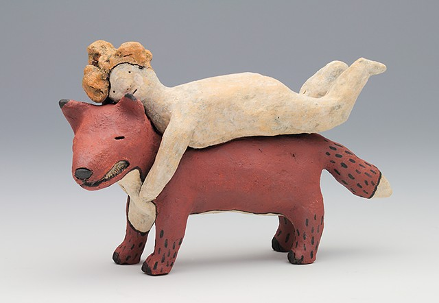 ceramic figure animal fox by Sara Swink