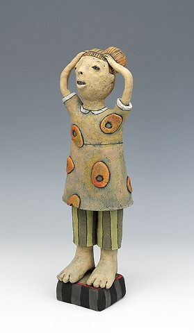 clay ceramic sculpture by sara swink girl
