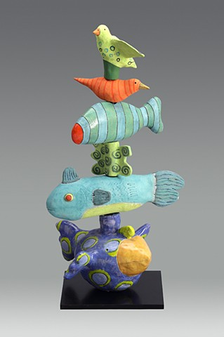 ceramic bird fish by Sara Swink